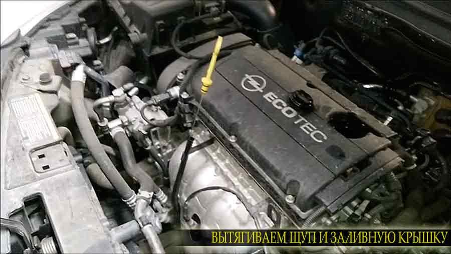 Вытягиваем щуп и откручиваем заливную пробку двигателя на Опель Инсигния