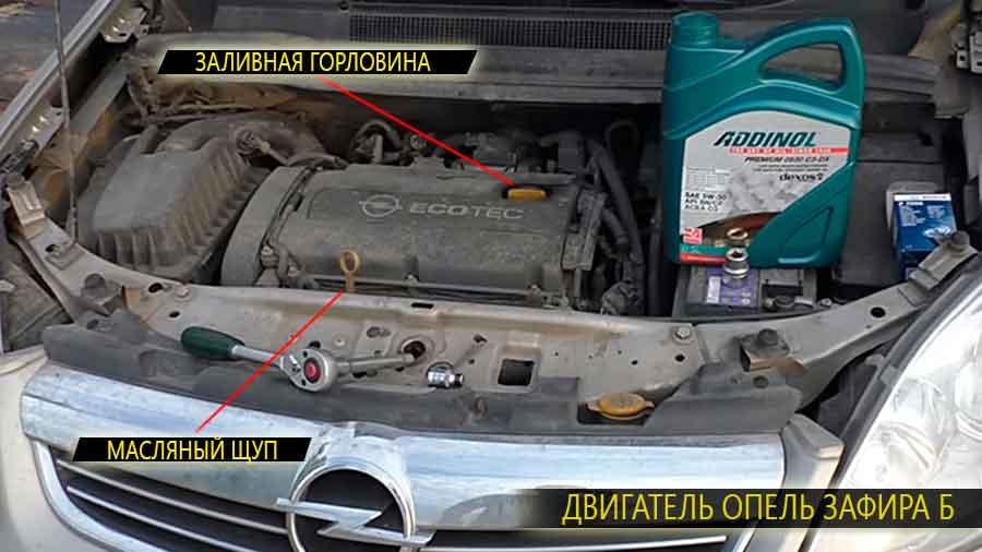 Расположение на двигателе основных узлов (заливная горловина и масляный щуп) Опель Зафира Б (второго поколения)