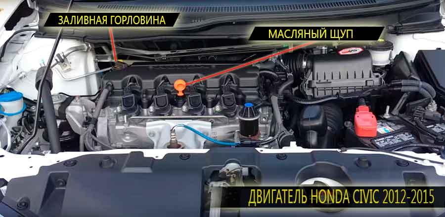 Расположение масляного щупа и заливной горловины на двигателе Honda Civic