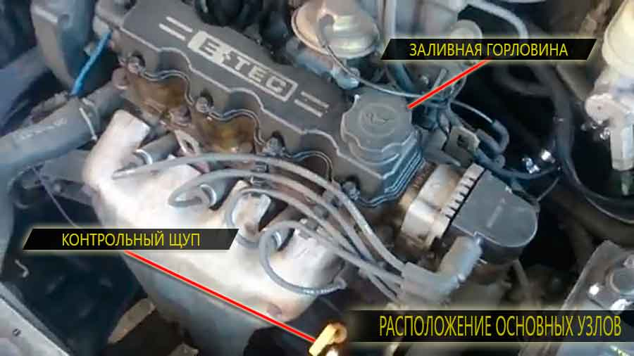 Расположение на двигателе заливной горловины и масляного щупа