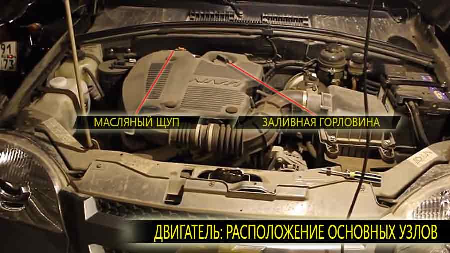 Расположение заливной горловины и масляного щупа на двигателе Шевроле Нива