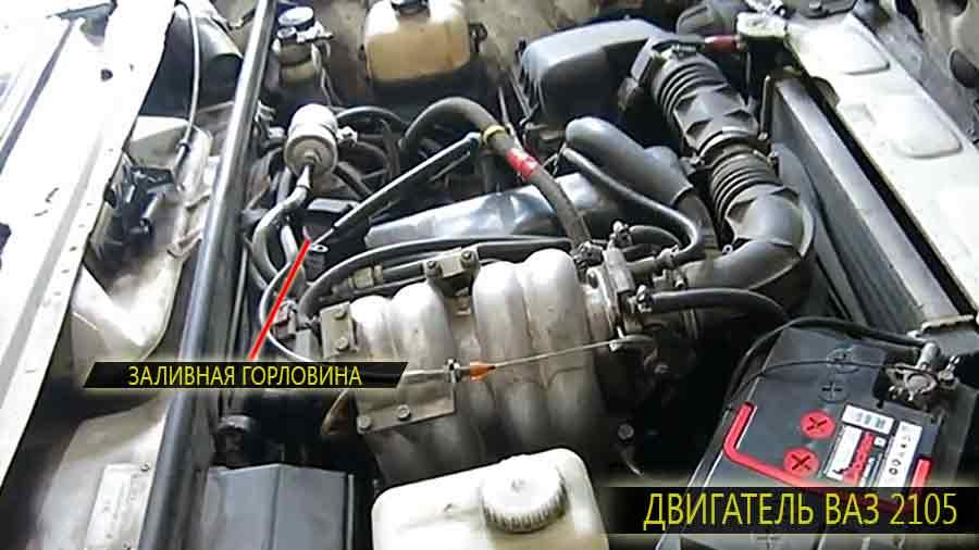 Расположение заливной горловины на двигателе ВАЗ 2105
