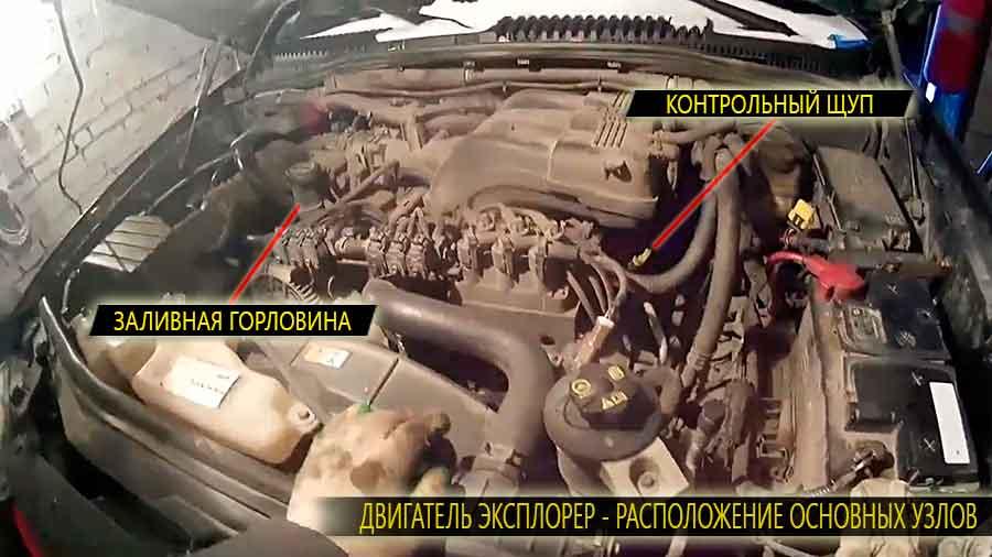 Двигатель Форд Эксплорер сверху - расположение заливной горловины для заливки моторного масла и контрольный щуп для измерения его уровня