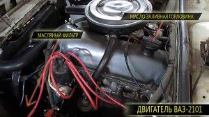 Расположение масло заливной горловины и масляного фильтра на двигателе ВАЗ 2101