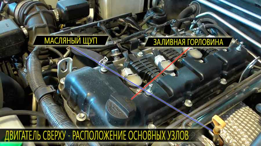 Двигатель сузуки гранд витара расположение заливной горловины и масляного щупа