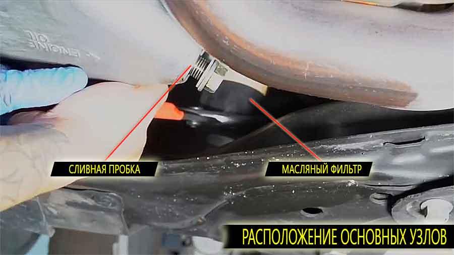 Расположение сливной пробки и масляного фильтра на honda pilot