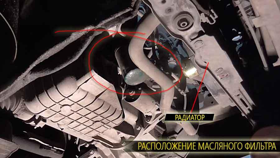 Масляный фильтр меняется снизу, и располагаеться рядом с радиатором на форд фокус 1