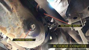 Расположение сливной пробки и масляного фильтра на двигателе ВАЗ 2111