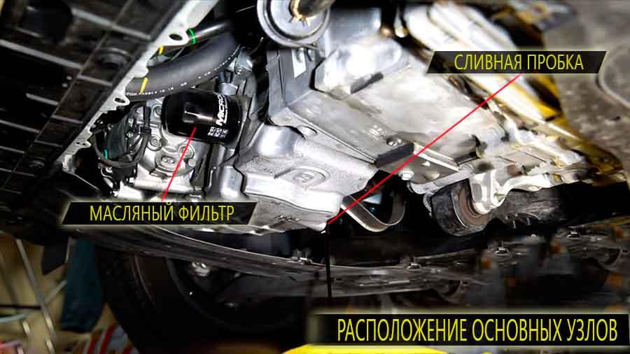 Расположение основных узлов хонда инсайт - масляный фильтр и сливная пробка картера
