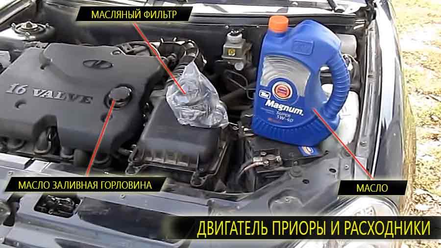 Двигатель Лада Приора и расходный материал в виде моторного масла и масляного фильтра