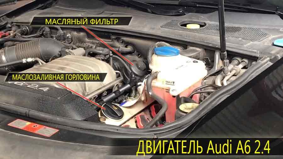 Расположение маслозаливной горловины и масляного фильтра на двигателе Ауди А6 2.4 литра